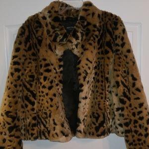Leopard fur short jacket